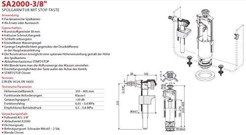 """Spülgarnitur Set Ablaufventil mit Stop Taste und Füllventil 3/8"""" Anschluss Seitlich Heberglocke Füll- Ventil"""