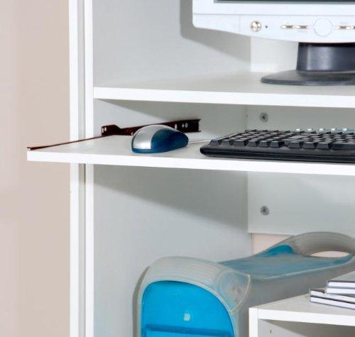 6-6-5-1881: made in BRD - schöner Computerschrank - PC-Schrank - weiß dekor - 161cm hoch - Auszug für Tastatur auf Metallschienen