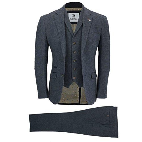 Mens Wool Mix 3 Piece Suit Vintage Herringbone Tweed Smart Formal Tailored Fit in Brown, Navy