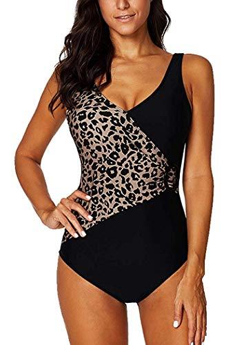 Leslady Damen Badeanzug mit Tiefem V-Ausschnitt Figurformender Große Größe Einteiliger Schwimmanzug für Bauchweg, 2-leopard, EU 40-42 (L)