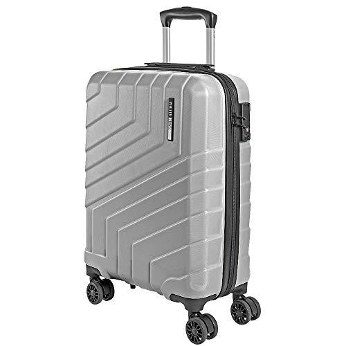 Valigia Trolley da Viaggio Rigida - Idonea Ryanair e Easyjet 55x40x20 cm 44 Litri - Bagaglio a Mano Ultra Leggero in ABS con Chiusura TSA e 4 Ruote Doppie Girevoli - Perletti Travel (Argento, S)