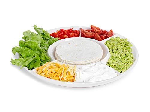 Taco Servierteller - geteilte Taco-Gewürzteller mit Halter für Tortillas oder Nachos - große Keramik-Servierschale für Taco Bar Party Relish Dish Bowl