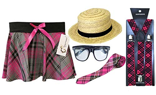 Islander Fashions School Girl Mini Tartan Rock Hosentr�ger Krawatte Brille Boater Hut Hen Night Set (TAR555 + H07011 + BR6150 + WA7189 + U09558) Small / Medim
