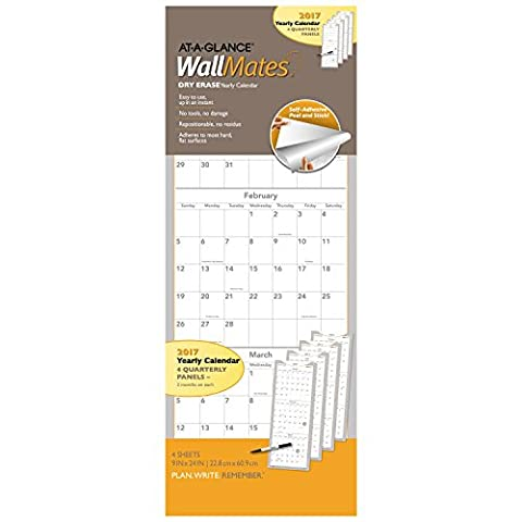 AT-A-GLANCE Dry Erase Wall Calendar 2017, Self-Adhesive, 9 x 24, 4 Quarterly Panels, WallMates (AW6062-28) by At-A-Glance