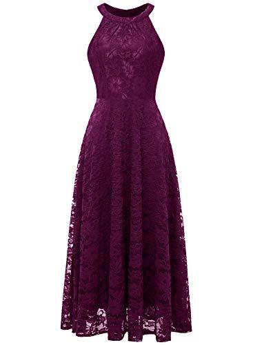 MUADRESS MUA6012 Damen Abendkleid Maxi Spitzenkleid Lang Schulterfrei Ärmellos Floral Grape S