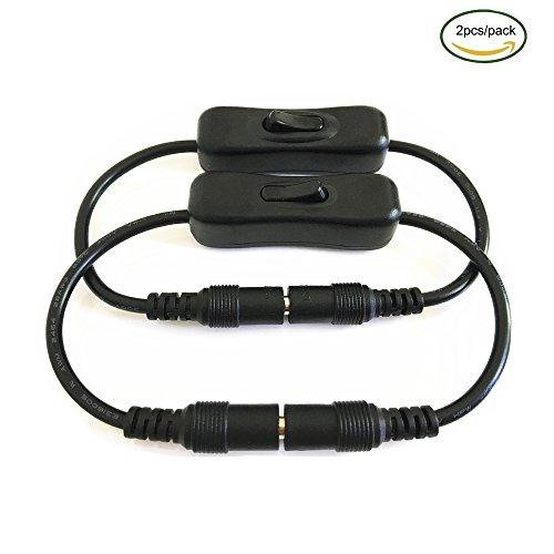 2pcs/pack schwarz DC 12V Inline Schalter 5.5mmx2.1mm DC Stecker auf Buchse M/W Power Verlängerungskabel,Schalter-Kabel Wippschalter Toggle Switch für DC-Adapter-Verbinder LED-Band Lichtkabel und andere DC- Verbinder (Inline-lampe Schalter)
