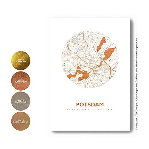 Design Kunstdruck Stadtkarte Potsdam in Kupfer Gold Roségold Silber Metallic Folie, Wandbild in DIN A3 A4, Geschenk-Idee Einrichtung
