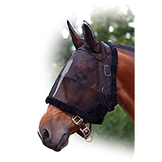 ARBO-INOX® Fly Mask with Ears QHP Fly Mask Fly Mask Mosquito Net Nut - Black, Fohlen
