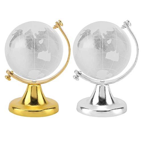 ugel Kristallkugel Glaskugel rund Erdkugel Weltkarte Kristallglas Kugel Home Office Decor Geschenk 2pcs ()