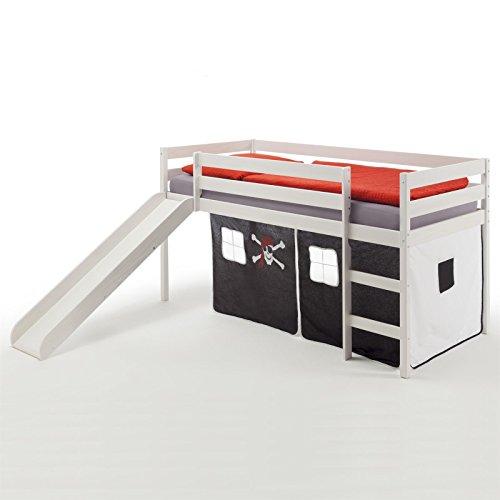 Spielbett Rutschbett Hochbett BENNY, mit Rutsche in Kiefer massiv weiß, Vorhang in schwarz mit Piratenmotiv, Liegefläche 90 x 200cm