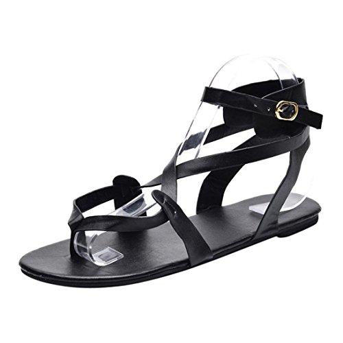 Beikoard promozione della moda sandali donna taco sandali donna estate sandalo incrociato con cinturino alla caviglia (nero, 39)