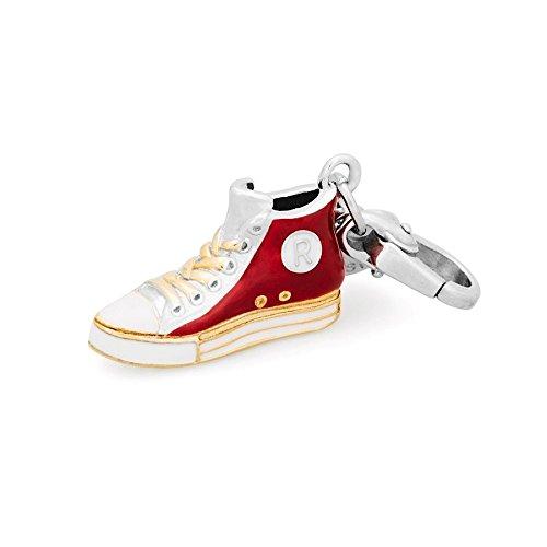 Rosato ciondolo scarpa charm my shoes tipo converse con smalti rossi e bianchi sh022