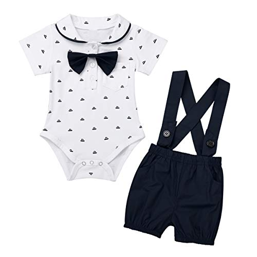 Tiaobug Baby Jungen Kurzarm-Body Strampler Hemd Fliege + Hosenträger Shorts Hosen Gentleman Hochzeit Outfit Taufe Bekleidungsset 3-18 Monate Schwarz 3-6 Monate -