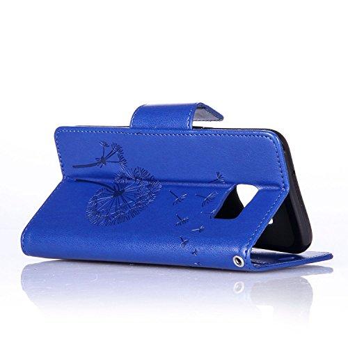 S7Edge Glitzer Spiegel TPU Fall [mit 1Stylus Pen]–Newstars Fashion Schöne Luxus 3D Handgefertigt Diamant Glitzer Bling Soft Shiny Sparkling mit Glas Spiegel Backplate Schutzhülle für Samsung Galax F4- Blue Glitter Dandelion