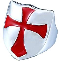Excow Jewelry - Anillo de Cruz de Acero Inoxidable con Escudo Medieval de Caballero templario