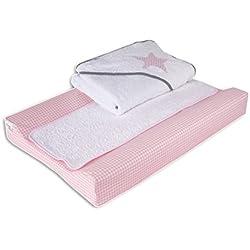 Belino Vichy - Pack de cambiador plastificado 48 x 70 cm y capa de baño 80 x 80 cm, diseño estrella, color rosa