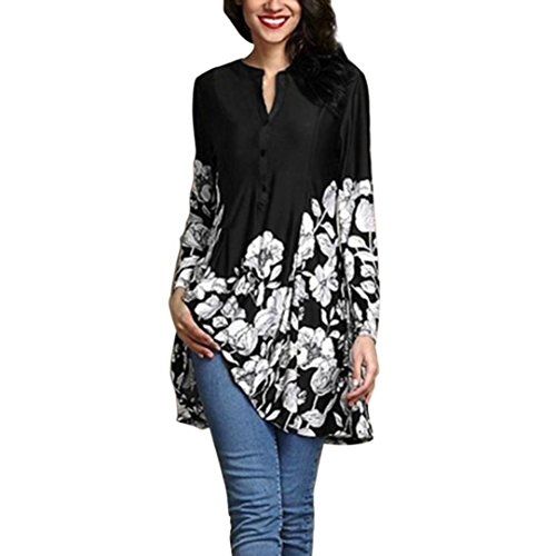 Damen Bluse Xiantime Frauen Blumendruck V-Ausschnitt Mode Langarm Button Long Shirt S-5XL