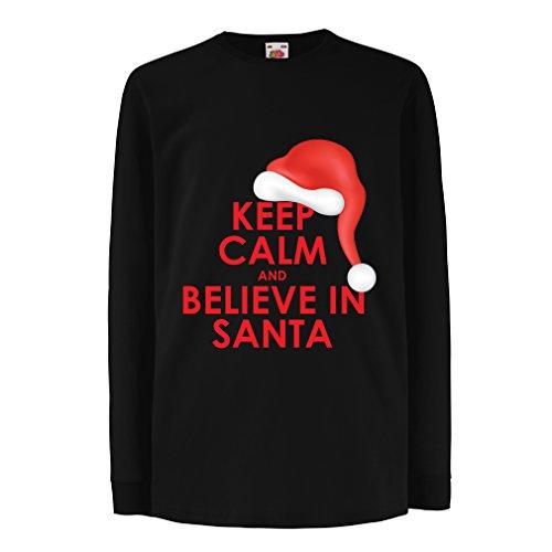 (lepni.me Kinder-T-Shirt mit Langen Ärmeln Behalte Ruhe und glaube an Santa Claus, Weihnachtsoutfits (3-4 Years Schwarz Mehrfarben))