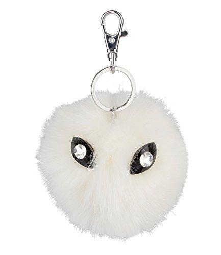 r weißer Trend PomPom Puschel Bommel mit schwarzen Katzen Glitzer Augen, plüschiger Schlüssel Taschen Anhänger Fake Fur (436-288) (Claire Zubehör Halloween)