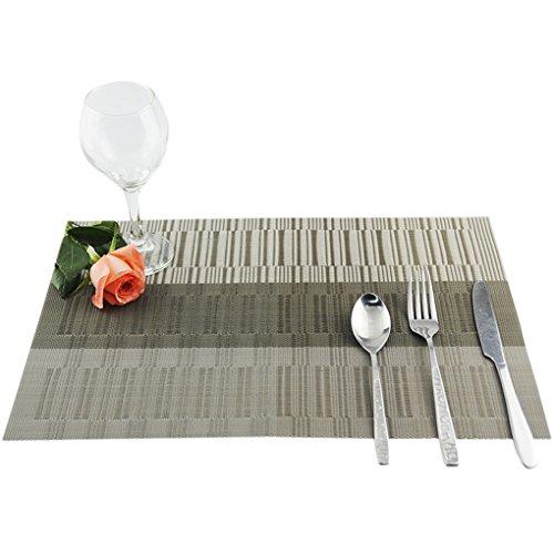 TFgirl Jacquard tejido de línea de vinilo de diseño de aislamiento térmico resistente a las manchas comer esteras para la mesa (sólo placemat)