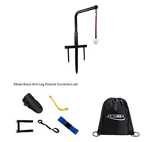 posma st080a Metall Golf Swing Trainer Club Champ Swing Fugenfräse und 5Haltung Korrektoren Geschenk Set mit posma schwarz Cinch Sack Carry Bag Golf Training Aid