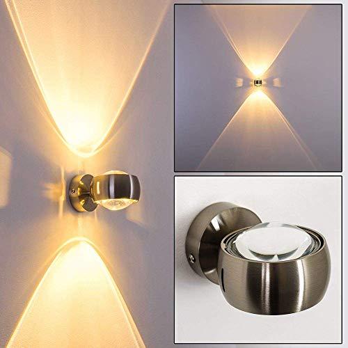 Halbrunde Wandlampe für das Wohnzimmer - Metall-Lampe mit Linsen aus Glas in Nickel matt - LED oder Halogen-Licht scheint zusätzlich aus zwei Effekt-Schlitzen aus den Seiten - Kegel-wand-lampe