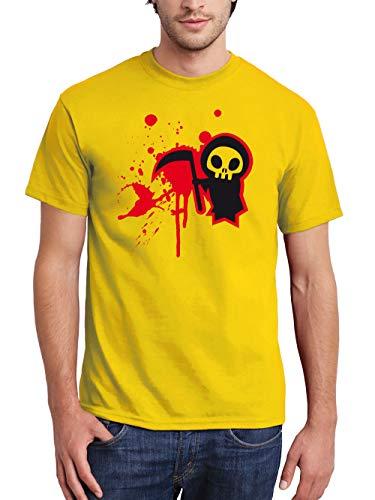 clothinx Herren T-Shirt Halloween Sensenmännchen Gelb/Schwarz-Rot Größe XXL