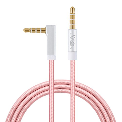 CableCreation TRRS Aux Kabel, 10 Fuß rechtwinklig 4-ploe 3,5 mm Audio-Stereo-Kabel (Mikrofon kompatibel) für Auto, iPods, iPhones, iPads, Telefone, Tablets, PS4 Headset & mehr, Rose Gold (4-fuß-mikrofon-kabel)