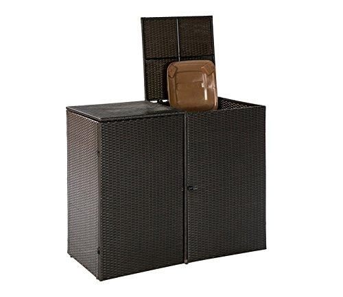 Mülltonnenbox für 2x Tonnen bis 120 Liter, 129x66x109cm, Stahl + Polyrattan Geflecht mocca