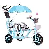 HQSF Triciclo per Bambini Passeggino Trolley Doppio gemello Portatile per Neonati 1-3-6 Anni Carrozzina per Bambini con Manico Leggero Luce Musicale e Ombrelloblue