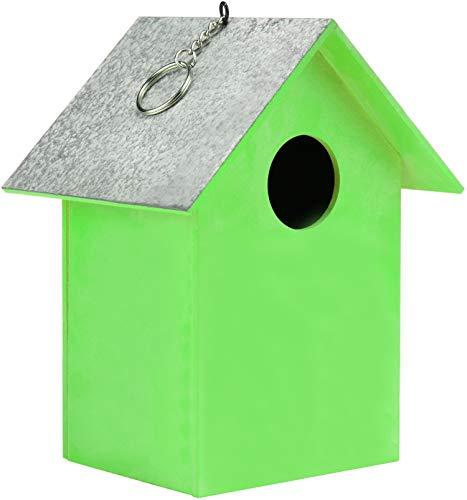 com-four® Vogelhaus aus Holz - Nistkasten für Kleinvögel - Dekoratives Futterhaus zum Aufhängen - Schutz für kleine Wildvögel (01 Stück - 17x13 x11.7cm grün)