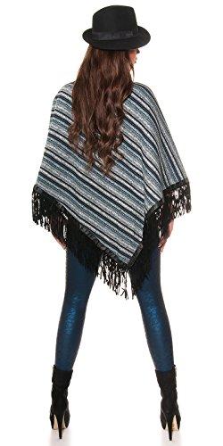 Tendance Poncho avec rayures franges en gris, kaki, bleu marine rayé bleu, rouge, noir, Taille unique de Fashion Design Grau