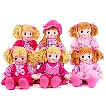 30cm Pink Rag Doll 6 Assorted Designs - Mädchen Plüsch Puppen - Mädchen Soft Toys ()