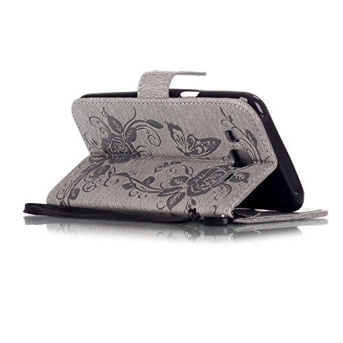 Coque pour Apple iPhone 6S/ 6 4.7 Zoll ,Housse en cuir pour Apple iPhone 6S/ 6 4.7 Zoll ,Ecoway étui en cuir PU Cuir Flip Magnétique Portefeuille Etui Housse de Protection Coque Étui Case Cover avec S YB Gris papillon Imprimer