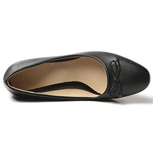TAOFFEN Femmes Escarpins Mode A Enfiler Bloc Talons Moyen Chaussures De Bowknot Noir