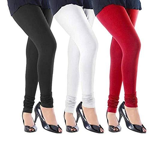 Ganesh Leggings CAPRI BRAND | Leggins For Women | Lycra Leggings | Women\'s Cotton Lycra Leggings (Black White & Red Free Size)-Pack Of 3