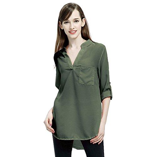 1 Roll-up-shirts 2 ärmel Damen (Yalatan Damen Blusen Plus Size Chiffon Shirts Roll Up Sleeve V-Ausschnitt Tops)