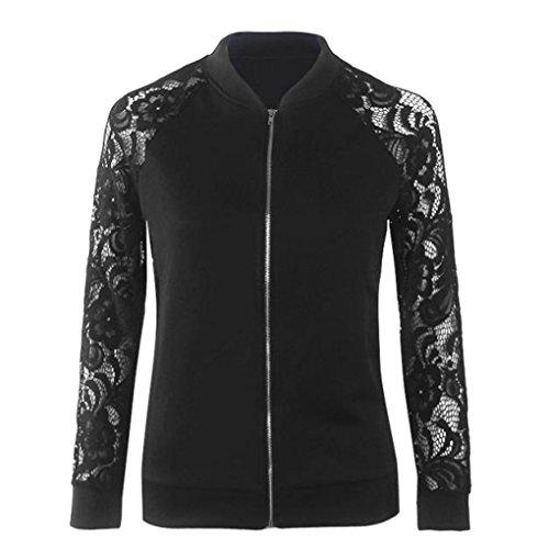 Ouneed® Femme Zippe Jacket a Manche Ajouree Noir