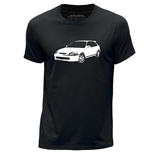 Stuff4 Herren/groß (L)/Schwarz/Rundhals T-Shirt/Schablone Auto-Kunst/Civic EK9