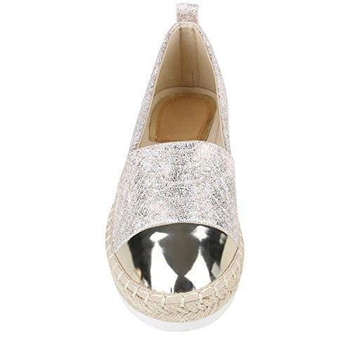Damen Espadrilles | Metallic Slipper |Bast Profilsohle Flats | Freizeit Schuhe | Glitzer Prints Spitze Gold Snake