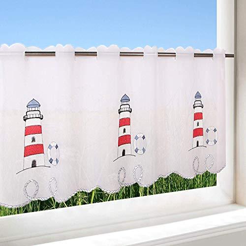 Gardinenbox Faro para cocina, baño y habitación de los Niños/–Cortina con diseño de Marítima/45x 115cm/Moderno y transparente Bistro cortina
