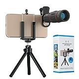 Kit de cámara para teléfono móvil, lente con zoom telescópico ajustable 18x + soporte para teléfono móvil 2 en 1, para una variedad de teléfonos inteligentes