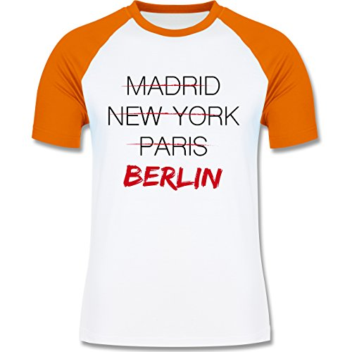 Städte - Weltstadt Berlin - zweifarbiges Baseballshirt für Männer Weiß/Orange