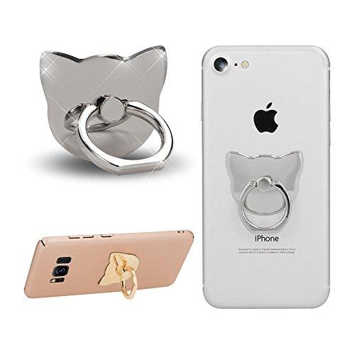 NALIA Fingerhalterung Ring-Halter Katze, Verstellbarer Fingergriff für Einhandbedienung Smartphone Universal-Ständer Multi-Winkel, kompatibel mit iPhone, kompatibel mit Samsung, etc, Farbe:Silber (Ring-halter Katze)