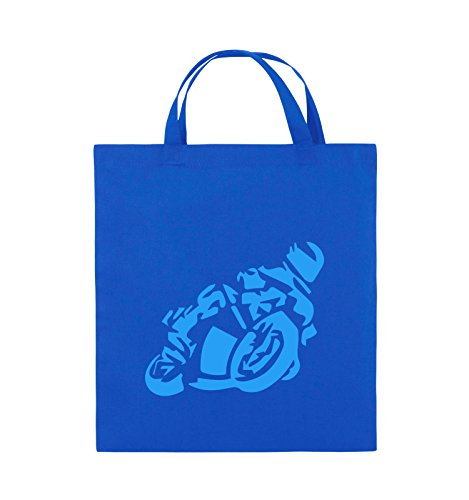 Comedy Bags - MOTORRAD Motorradfahrer GROß - Jutebeutel - kurze Henkel - 38x42cm - Farbe: Schwarz / Pink Royalblau / Blau