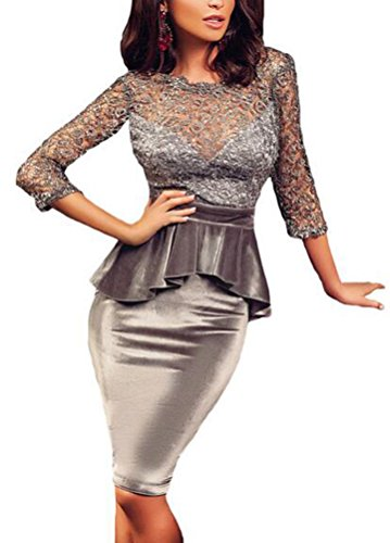 SunIfSnow donna tre quarti maniche Vintage ricamo velluto Peplum Party Dress Grey Large