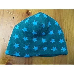 Mütze Babymütze Baby Junge blau petrol Sterne warm Meer Geschenk Geburt Mütze Fleece Winter Neugeborene
