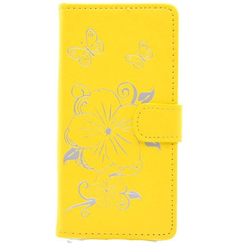 iPhone Case Cover Pour iPhone 6 & 6s Bronze papillon motif horizontal Flip PU cas en cuir avec Holder & Card Slots & Wallet ( Color : Gold ) Yellow