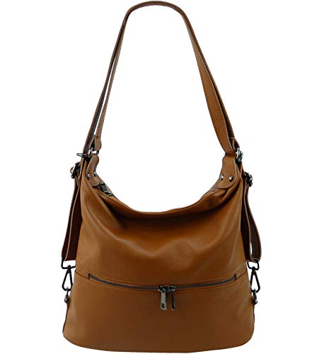 Freyday 2in1 Handtasche Rucksack Designer Luxus Henkeltasche aus 100% Echtleder (Cognac)