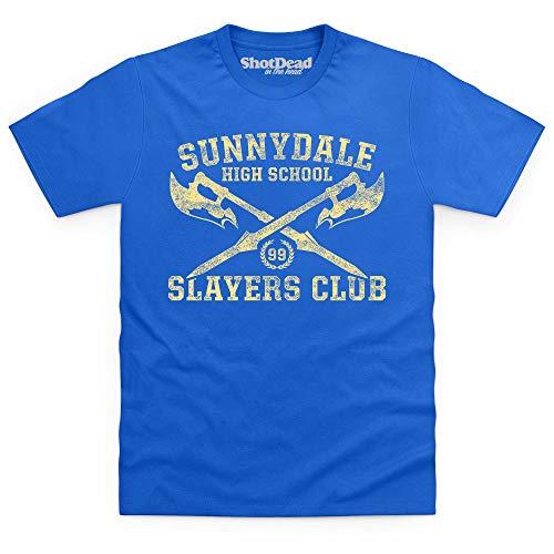 160cf2de71135 Shotdeadinthehead Sunnydale High School - Slayers Club T-Shirt, pour Homme,  Bleu Royal, L